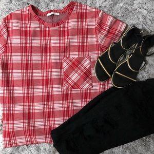 Zara Trafaluc Red Plaid Shirt